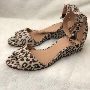 J. Crew leopard wedge sandal